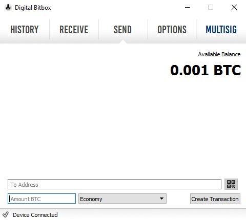 Send Digital Bitbox Bitcoins