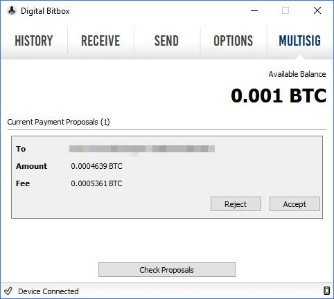Digital Bitbox MultiSig Wallet Copay Transaction Agree