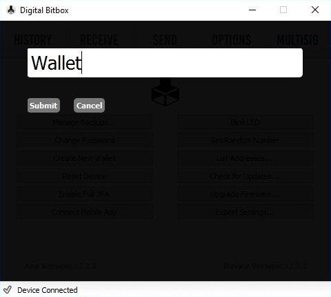 Digital Bitbox Create New Wallet