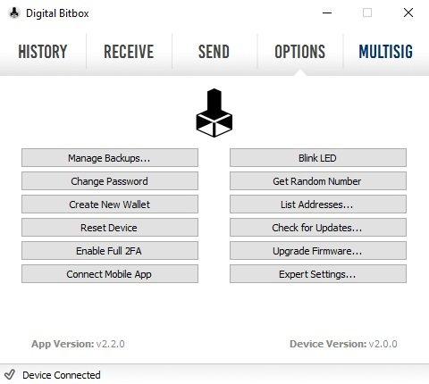 Digital Bitbox Options