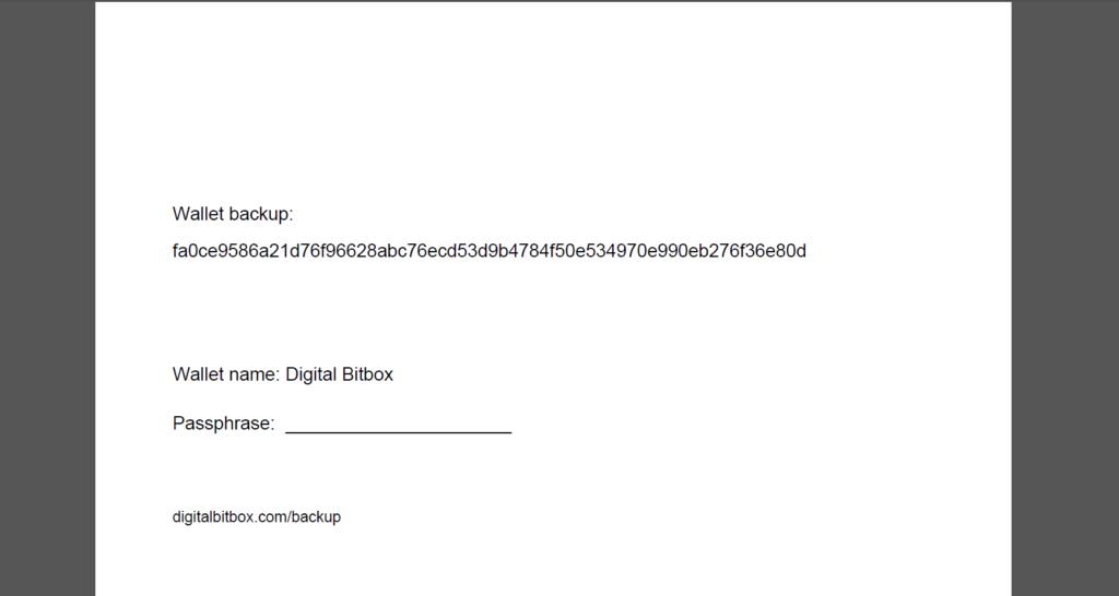 Digital Bitbox Papier Sicherung
