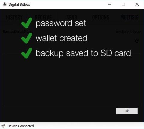 Set up digital Bitbox ready