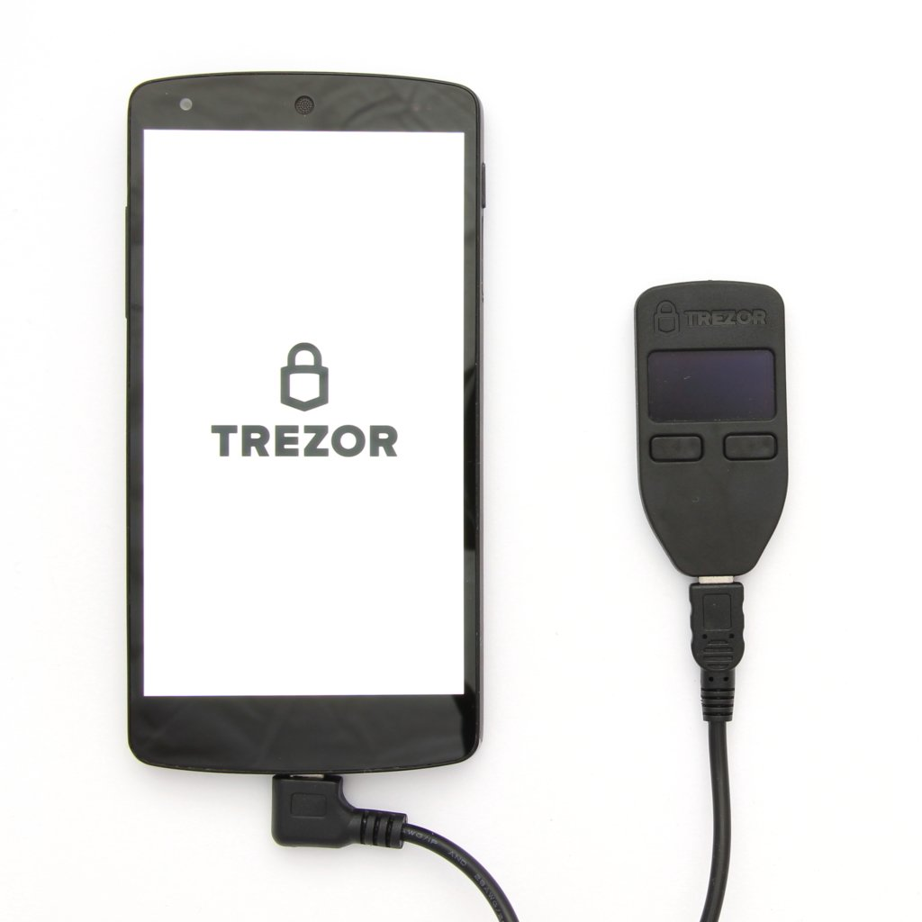 TREZOR Cardboard supplied USB OTG cable connected