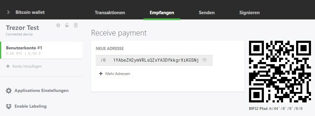 Receive Trezor transaction