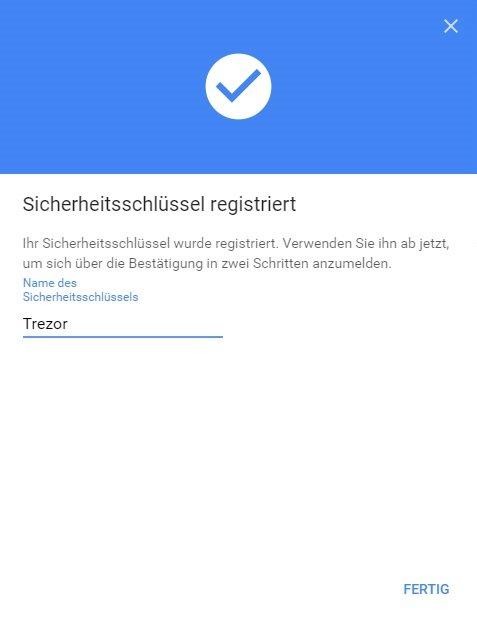 TREZOR U2F Registered
