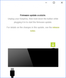 KeepKey firmware Updae required