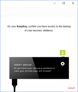 KeepKey Verify Backup