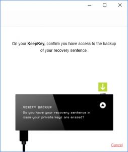 KeepKey Verify Backup