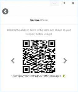 KeepKey Wallet Bitcoin Receive
