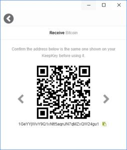 KeepKey Wallet Bitcoin Receive
