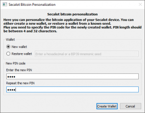 Secalot Bitcoin Wallet einrichten Schritt 5