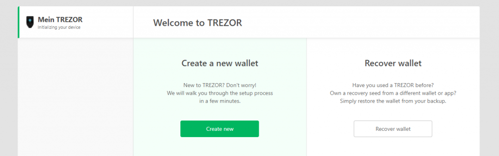 Set up TREZOR create wallet