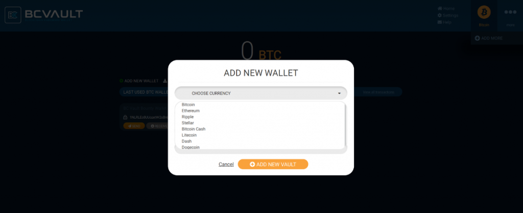 Bc Vault Software Add Account